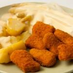 Die Nuggets gab es zu Kartoffeln und Spargel