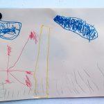 Liam malt die Welt (Gras, Hochhaus, Blume und Wolken)